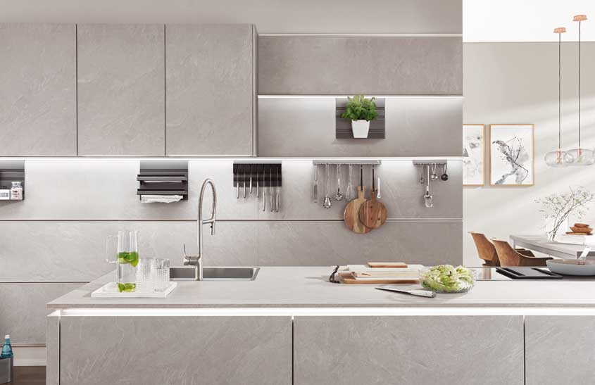 Luxuriously textured stone-effect kitchens